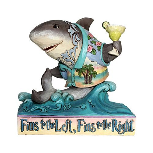 Margaritaville Pint Sized Shark on Wave Fins Up Shark Heartwood Creek Statue by Jim Shore