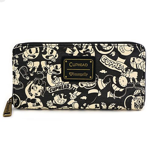 Cuphead Black and White Print Zip-Around Wallet