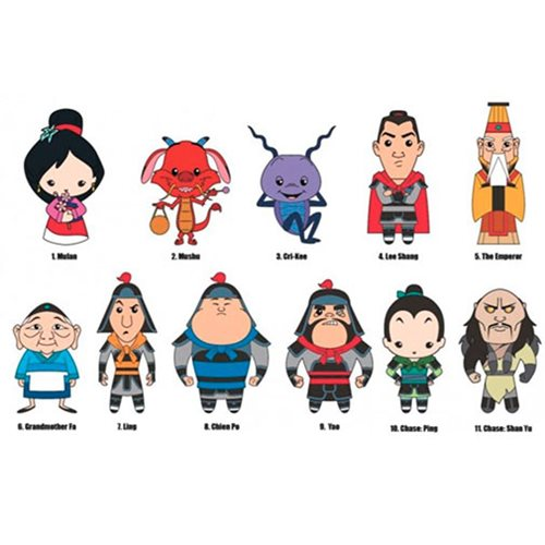 Mulan 20th Anniversary 3D Figural Key Chain Random 6-Pack