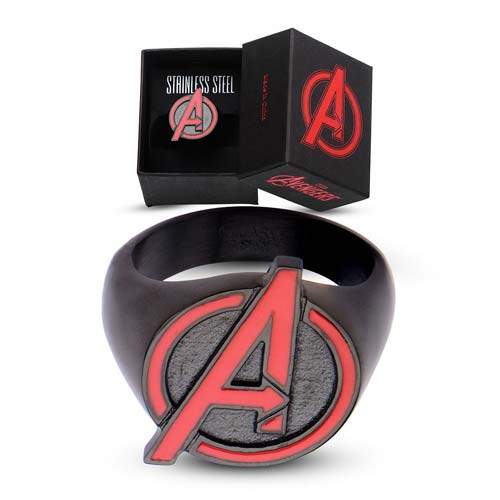 Avengers Red A Logo Black Steel Ring