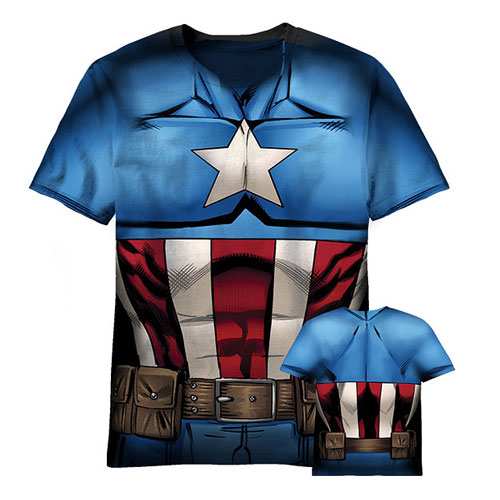 Captain America Sublimated Costume T-Shirt