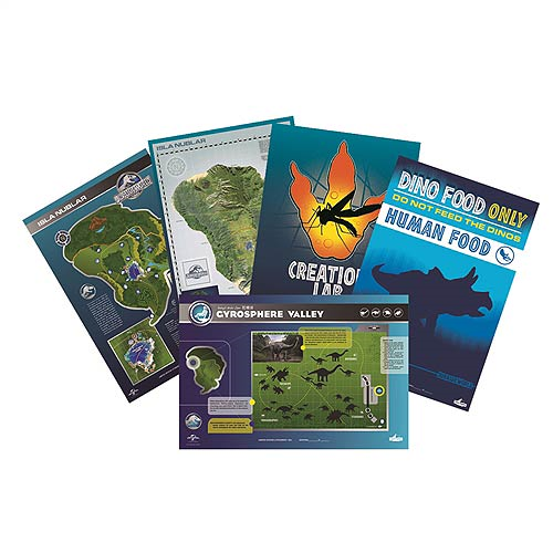 Jurassic World Maps and Signs Lithograph Print Set