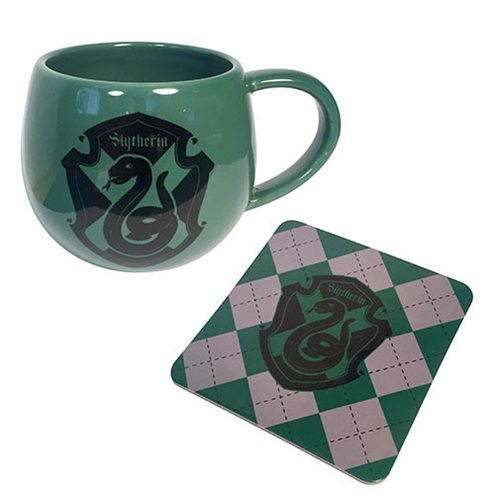 Harry Potter Green Slytherin Crest 12 oz. Mug and Coaster Set