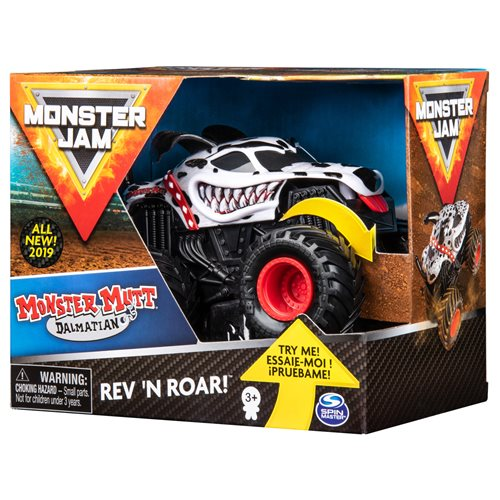Monster Jam Mutt Dalmatian Rev 'N Roar 1:43 Scale Monster Truck Vehicle