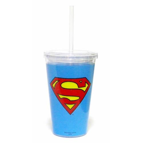 Superman Blue 16 oz. Travel Cup with Straw