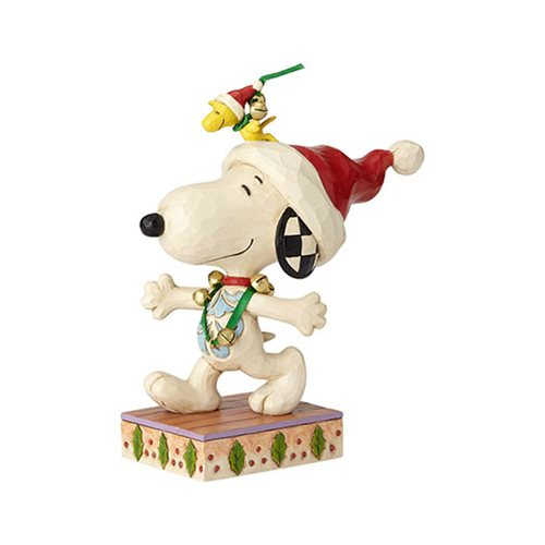 Peanuts Snoopy and Woodstock with Jingle Bells Statue by Jim Shore