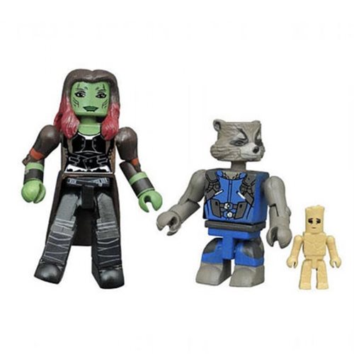 GOTG Vol. 2 Gamora and Rocket with Groot Minimates, Not Mint