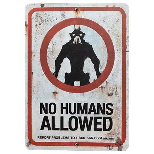 District 9 No Humans Allowed Prop Replica Tin Sign
