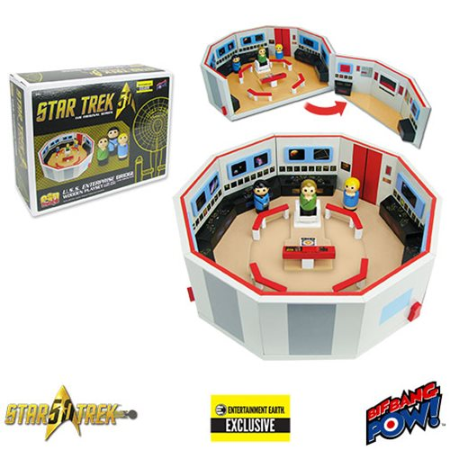 Star Trek: The Original Series Pin Mate Wood Enterprise Bridge Set w/Kirk, Spock, Nurse Chapel-Entertainment Earth Excl.