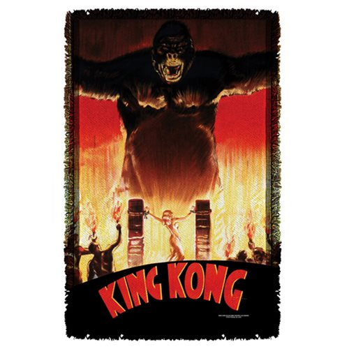 King Kong at the Gates Woven Tapestry Throw Blanket