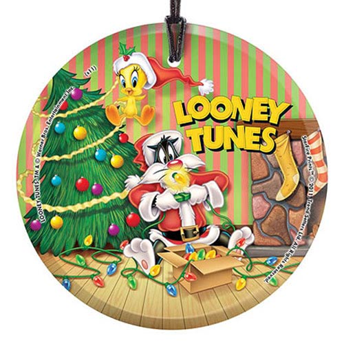 Looney Tunes Sylvester and Tweety Christmas StarFire Prints Hanging Glass Print