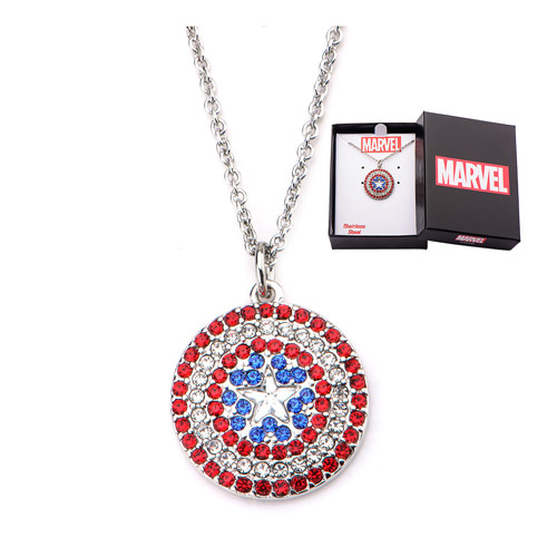 Captain America Shield Bling Gems Pendant Necklace
