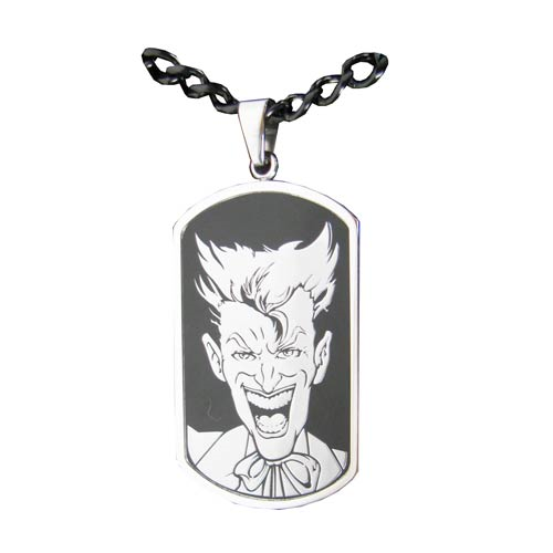 Batman Joker Face Dog Tag and Chain Necklace