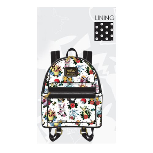 Pokemon Eevee Evolution Tattoo Print White Backpack
