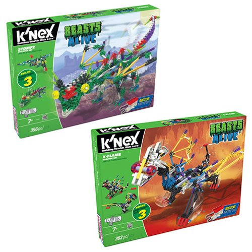 K'NEX Beasts Alive! Stompz and X-Flame Building Set Case