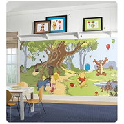 Winnie the Pooh and Friends Chair Rail Prepasted Wall Mural
