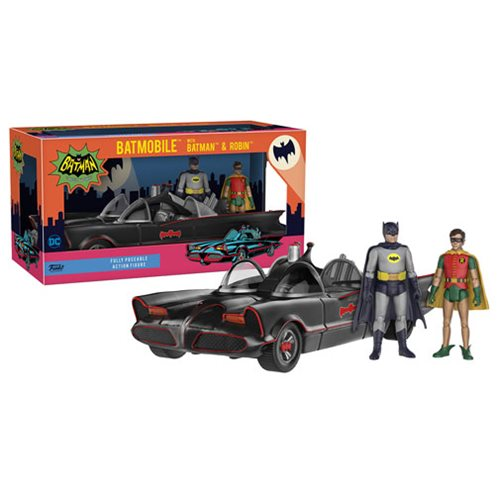 Batman 1966 TV Series Batman and Robin 3 3/4-Inch Figures with Batmobile Vehicle