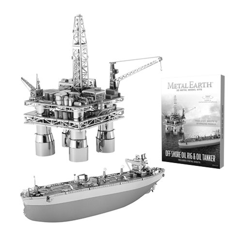 Offshore Oil Rig and Oil Tanker Metal Earth Model Kit Set