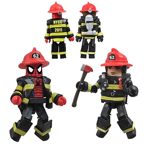 Spider-Man NYCC 2011 Firefighter Minimates Exclusive 2-Pack