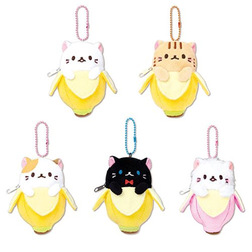 Bananya 4 1/2-Inch Zipper Plush Key Chain Set