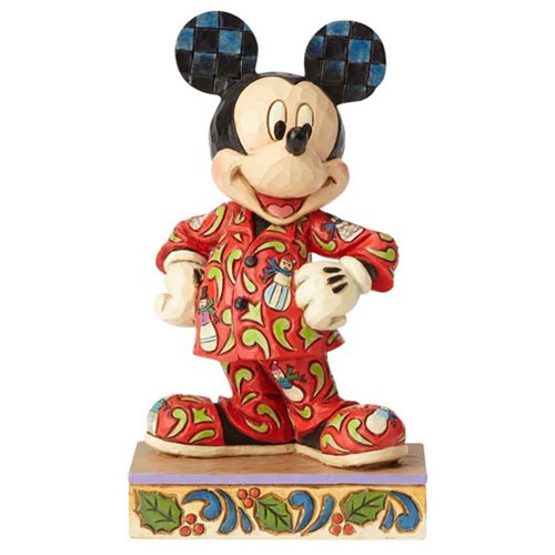 Disney Traditions Mickey Mouse in Christmas Pajamas Magical Morning Statue
