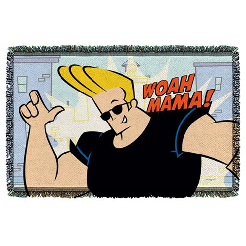 Johnny Bravo Woah Mama Woven Tapestry Throw Blanket