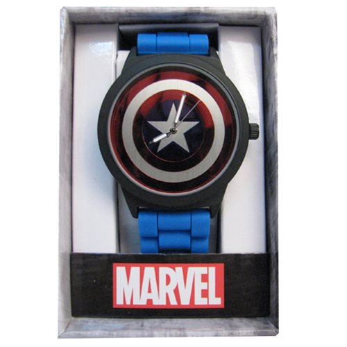 Captain America Shield Dial Blue Rubber Strap Watch