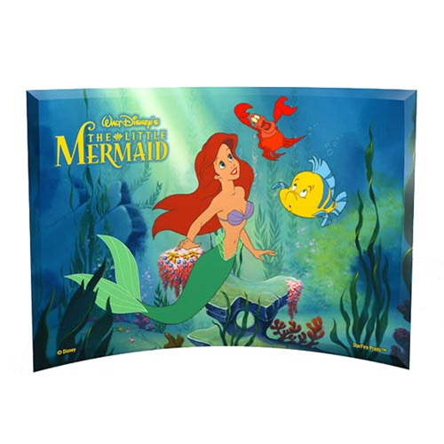 The Little Mermaid Ariel, Flounder, and Sebastian Curved Glass StarFire Print