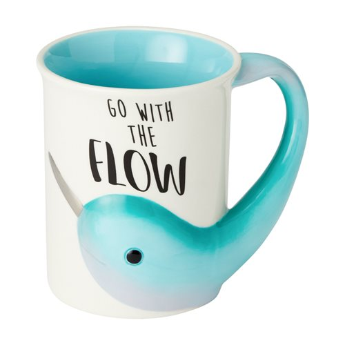 Narwhal Go With The Flow Sculpted 16 oz. Mug