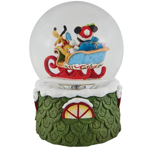 Disney Traditions Mickey and Pluto Laughing All the Way by Jim Shore Snow Globe