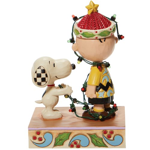 Peanuts Charlie Brown Tangled Lights Oh Brother by Jim Shore Statue