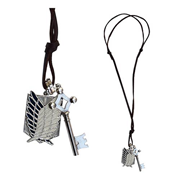 Attack on Titan Scout Shield and Key with Leather Necklace