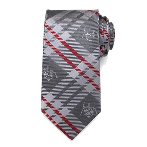 Star Wars Darth Vader Gray and Red Plaid Mens Silk Tie