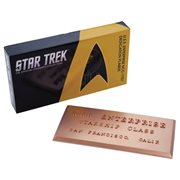 Star Trek U.S.S. Enterprise NCC-1701 Dedication Plaque #1