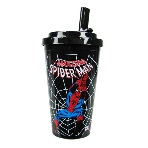 Spider-Man Swings Plastic 16 oz. Flip-Straw Travel Cup