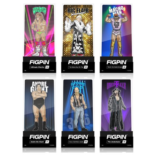WWE Legends FiGPiN Enamel Pins 6-Pack Display Case