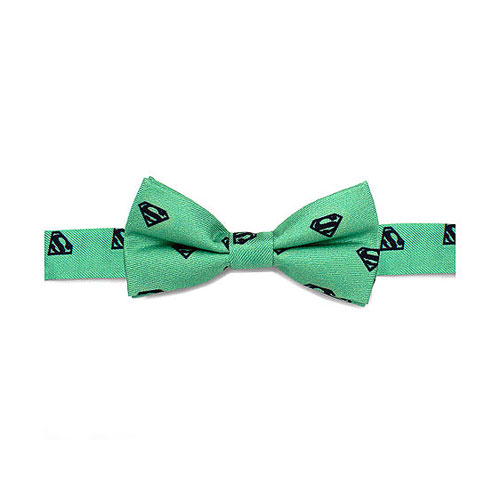 Superman Classic Shield Green Boys Large Silk Bowtie