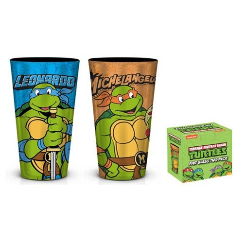 Teenage Mutant Ninja Turtles Leo and Mikey Foil Pint Glass 2-Pack