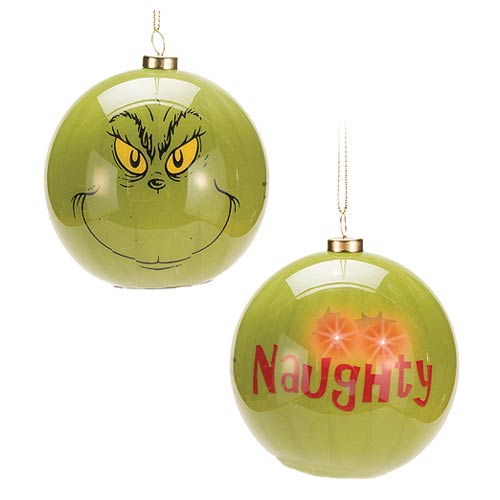 dr seuss how the grinch stole christmas grinch big face light up ball ornament - Grinch Stole Christmas Lights