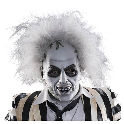 Beetlejuice Deluxe Adult Latex Mask with Hair