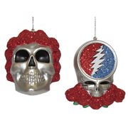 Grateful Dead Skull 3 1/2-Inch Blow Mold Ornament Set
