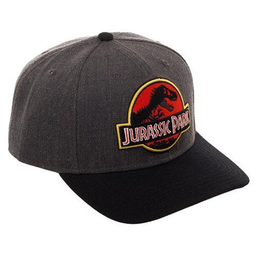 04855d5777487 Jurassic Park Logo Curved Snapback Hat - Entertainment Earth