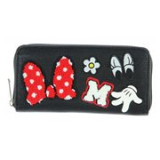 Minnie Mouse Patches Black Zip-Around Wallet
