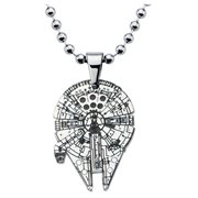 Star Wars Millennium Falcon Enamel Cut Out Pendant Stainless Steel Necklace