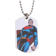 Superman Standing White Dog Tag Necklace