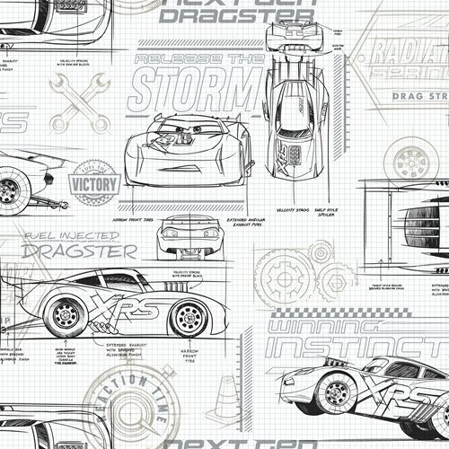 Cars Schematic Gray Peel and Stick Wallpaper
