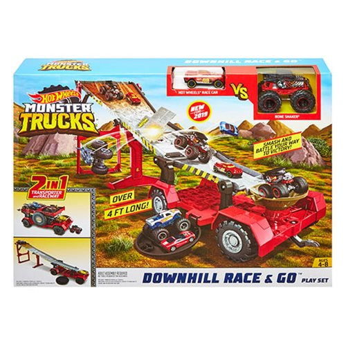 Hot Wheels Monster Trucks Downhill Race and Go Playset