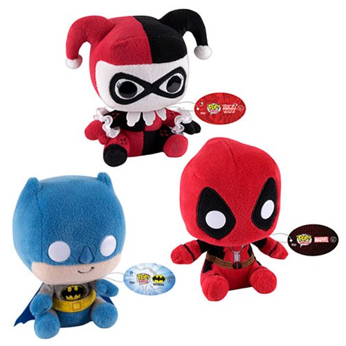 Batman Deadpool and Harley Regular Pop! Plush Set