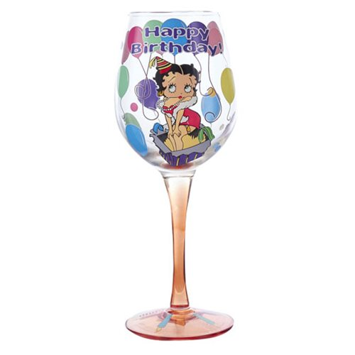 Betty Boop Happy Birthday 15 oz. Wine Glass