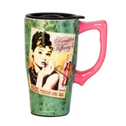 Audrey Hepburn Breakfast at Tiffany's Travel Mug with Handle